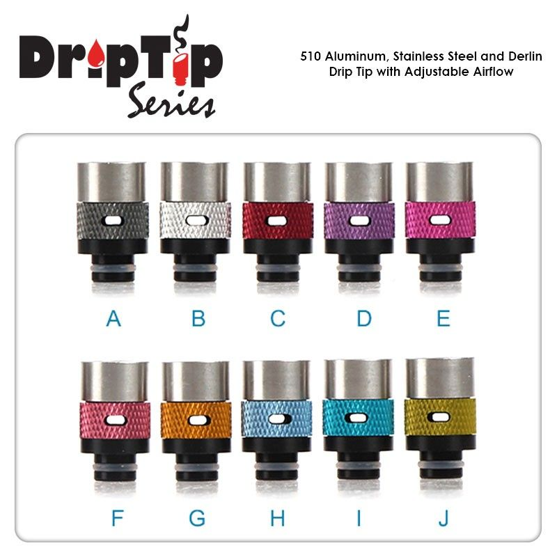 510 Aluminum - Stainless Steel and Derlin Drip Tip with Adjustable Airflow Green Sound