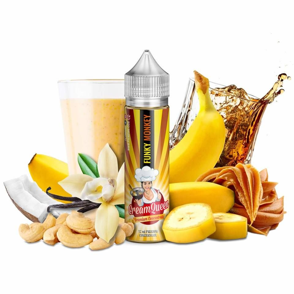 FUNKY MONKEY (Banánový milkshake, kokos, nugát, orechy) - PJ Empire - shake&vape Cream Queen 12 ml